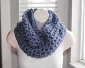 Spring Sale! 50% off was 10.00- the chunky manatee crochet infinity scarf- discontinued yarn