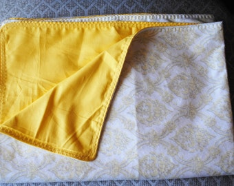 gray and yellow damask novelty print minky fabric with cotton yellow backing