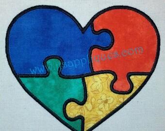 Autism Symbol in Heart Applique Design Heart Puzzle Applique Design - 4x4, 5x7, 6x10 hoop sizes - Instant Download
