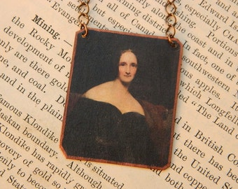 Mary Shelley necklace Literature jewelry feminist mixed media jewelry