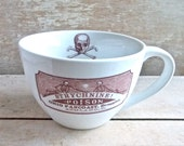 Poison Apothecary Label 20 oz  Recycled Diner Coffee Cup, Tea Cup , Strychnine, Macabre Humor, Lounging Skeletons, Ready to ship