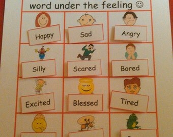 Busy Book Page - Feelings, Velcro - Quiet Book Page, Kindergarten, First Grade, Busy Books, Quiet Books, Montessori, Teacher Gift, Education