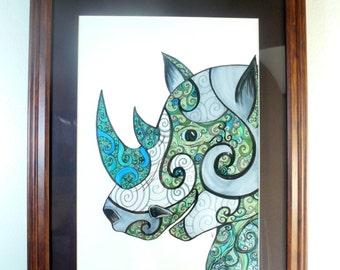 Rhinoceros drawing, wildlife art, Colorful original art, Rhino with abstract details, fantasy art