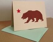 Single California Grizzly Linocut Greeting Card in Brown and Red