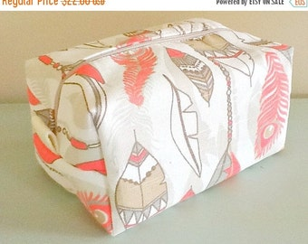 BACK 2 SCHOOL SALE Feather Makeup Bag  - Coral Cosmetic Pouch -  Lunch Bag - Wet Bag - Waterproof Bag