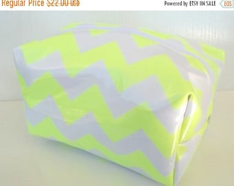 HALLOWEEN SPECIAL SALE Neon Make up Bag - Waterproof Cosmetic Bag - Chevron Cosmetic Pouch - Laminate Makeup Bag