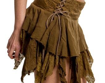STEAMPUNK SKIRT, Elf skirt, pixie skirt, gypsie skirt, fairy skirt, ragged skirt, festival skirt, Coskkts