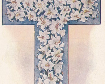 """Ca. 1907 """"Floral Cross of Lilies"""" Christmas Greeting Postcard - 2281"""