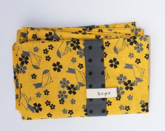 SINGLE Yellow Floral Pillowcase SINGLE ONLY Canary Birds Floral Gray  Bedding Cotton Africa Adoption Fundraiser