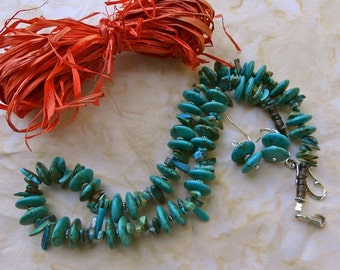 20 Inch Vintage Southwestern Old Pawn Natural Blue Turquoise Necklace with Earrings