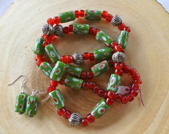31 Inch Chunky African Ethnic Boho Green and African Red Trade Bead Necklace with Earrings