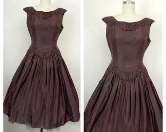 Vintage 1950s Handmade Brown Dress