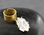 RAW HERKIMER DIAMOND Ear Cuff - Customize - Pick Gemstone Size & Coloration