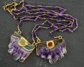 AMETHYST OVERLOAD - SLICE Pendant - Amethyst Beaded Chain 16 Inches