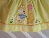 vintage pastel yellow blouse top dress with bunny rabbit applique and Peter Pan collar size 0-3 months / newborn