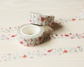 DIY Removable Adhesive Masking Deco Washi Tape - Watercolor Little Flower (1.5 cm Width)