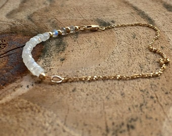 Moonstone Labradorite Beaded Bracelet Gemstone Beaded Jewelry Gift for Her Anniversary Gold Jewelry Fine Handcrafted Bracelet