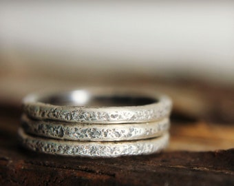 Silver Stacking Ring, Urban Industrial, Concrete Texture Ring, Rustic stack Ring, Organic Textured Ring, Simple Silver, Men or women