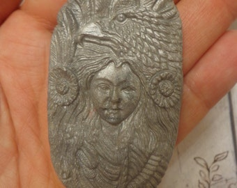 Handmade Poly Clay Pendant, Native American w/ Eagle, Silver Frost