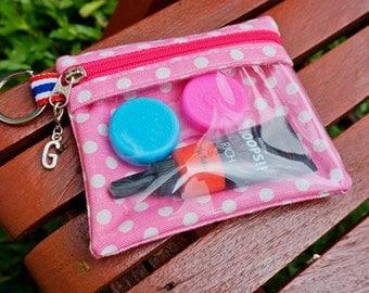 Lip gloss case, lip gloss pouch, lip gloss keychain, lip balm keychain, see through coin purse, see though zipper pouch, see through wallet