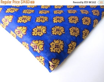 ON SALE SALE Blue yellow funny flower on blue silk India silk brocade fabric nr 149 Remnant