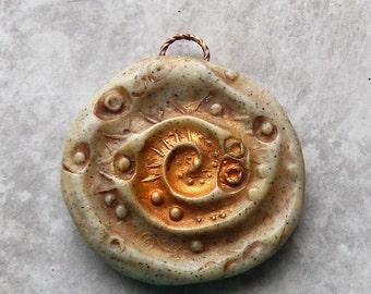 Large Primitive Faux Stone medallion, polymer clay, artisan bead, focal bead, rustic, primitive, earthy, gray, brown
