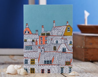 Over the Rooftops blank greetings card designed by Jessica Hogarth. Illustrative stationery showcasing drawings of coastal buildings