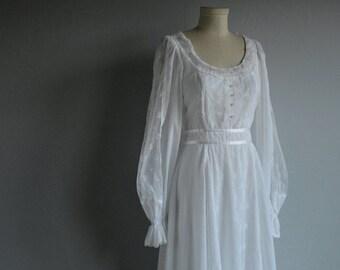 Vintage Gunne Sax Dress / 1970s Sheer White Lace Maxi Boho Wedding Dress / Rhinestone Buttons