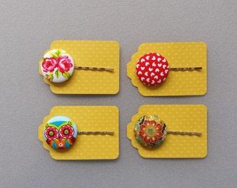 SALE Fabric Covered Button Hair Pin - Bobby Pins - Fabric Buttons - Hair Accessory - Girls Hair pin - 4 Mix Hair Pins