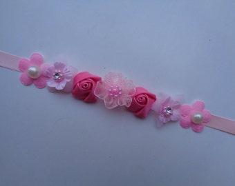 Pink Floral Bun Wrap, Ballet Bun Wrap, Flower Girl Bun Crown, Bridal Bun Crown, Flower Bun Wrap,