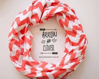 ON SALE Coral Chevron Infinity Scarf, Loop Scarf, Circle Scarf