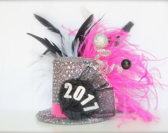 Over the Top 2017 New Years Eve Party Black, White, Sliver and Hot Pink - Mini Top Hat Headband (or fascinator) - Perfect Photo Prop