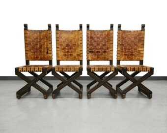 Set of 4 Spainish Mid Century Woven Leather Industrial Style Dining Chairs
