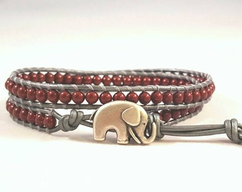 Beaded Leather Wrap Bracelet,  lucky elephant