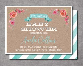 Watercolor Floral Kraft Mint Baby Shower Invitation Bridal Shower Printable Invitation OR Printed Card