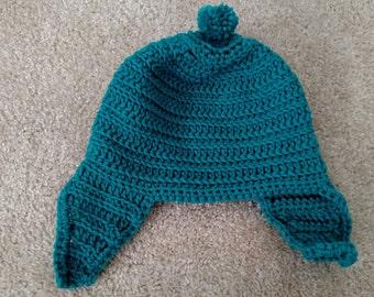 Teal Blue Earflap Hat