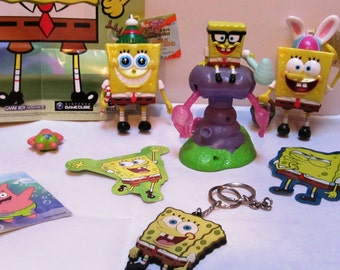 7 Piece Spongebob Squarepants Collectibles with poster