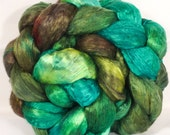 Hand- dyed cultivated silk roving ( Brick) - ( 3.6 oz.)