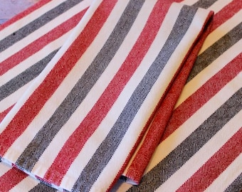 Vintage Linen Towels 2 Black Red White Stripes Goose Eye Twill Handwoven Pair Kitchen Dish