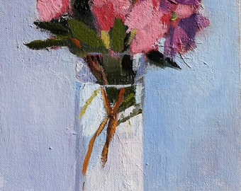 Blue Floral Still Life Original Oil Flower Painting on canvas panel 8x10 inch Canadian Wall Art