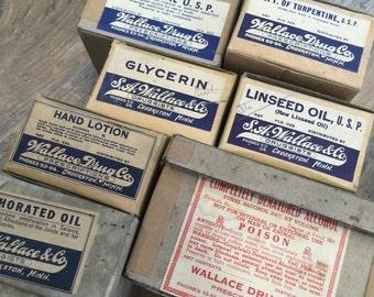 Set of 7 - Vintage prescription labels - drug store - druggists - New old stock labels NOS