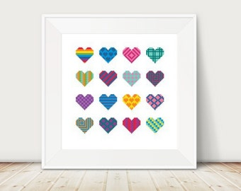 Geometric Hearts, Cross Stitch Pattern, DMC Threads, Instant Download