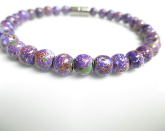 Purple Magnetic Hematite Bracelet, Magnetic Bracelet, Magnetic Jewelry