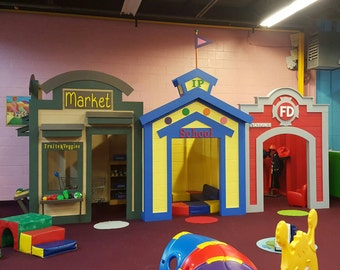 Kids Play Village by Imagine That Playhouses! Customize for your business! Call 770-324-9607
