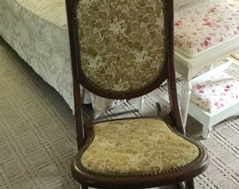 Antique Wood and Tapestry Folding Rocking Chair