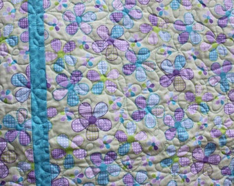 Dancing Daisies- Baby quilt-Aqua lime and lavender- Minky backing