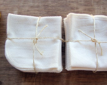 Organic Cotton Birdseye Dishcloth, Wipes, -- Set of 16, Choose Your Edge Color Thread