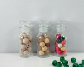Small Apothecary Jars - Glass Spice Jar Set of Three - Trio of Small Apothecary Bottles