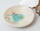 Pottery Bowl with Shell Imprint Ceramic Dish Recycled Glass and Clay, Soap Ring Jewelry Trinket Bowl, Handmade Studio Pottery British UK