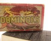 Antique 1920's Black Wood Dragon Hal Sam #920 DOMINOES, Set of 56, Original Cardboard Box. Chinese Asian Design